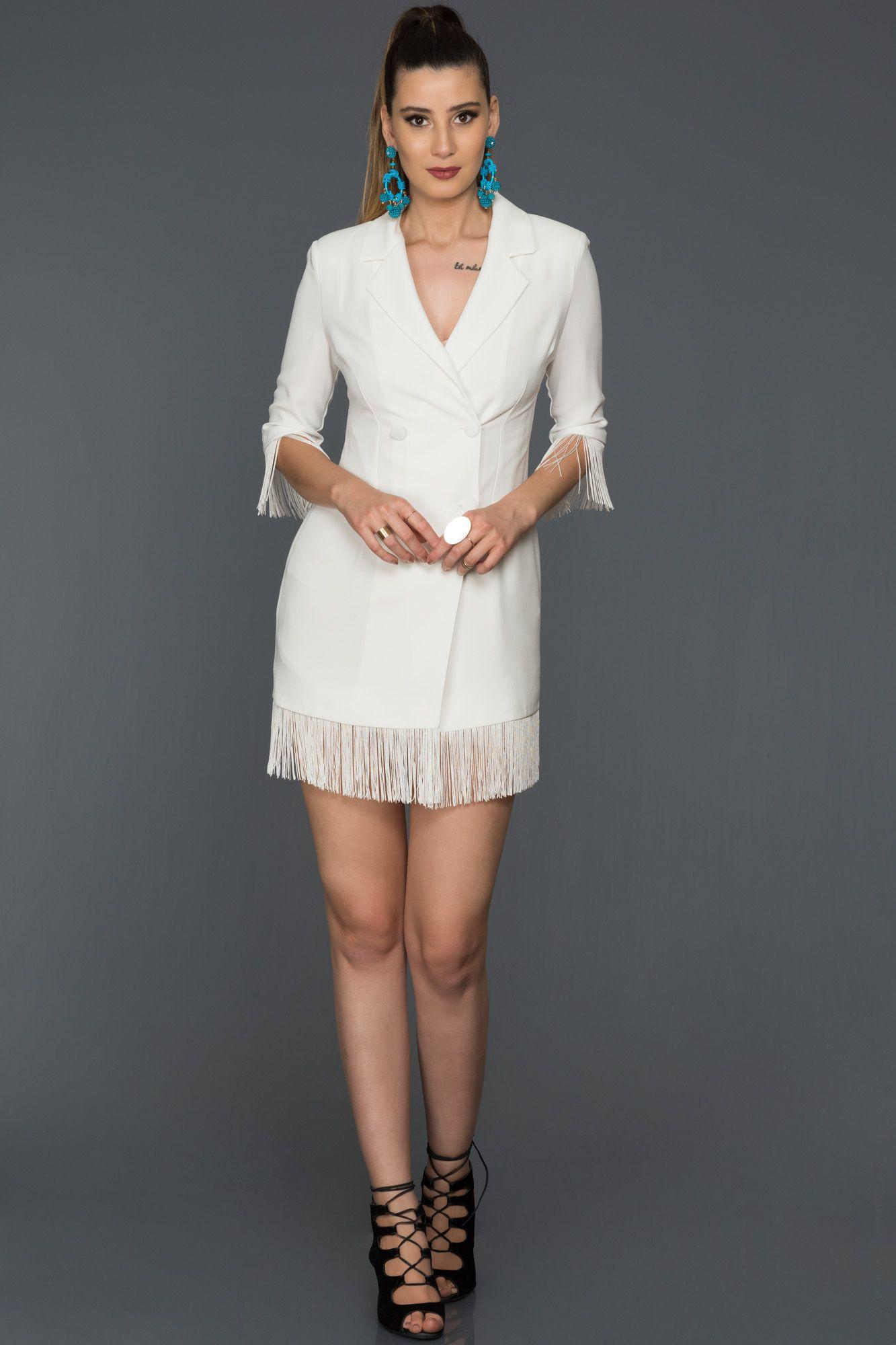 Ekru Puskullu V Yaka Ceket Elbise Abk064 Elbise Elbiseler Elbise Modelleri