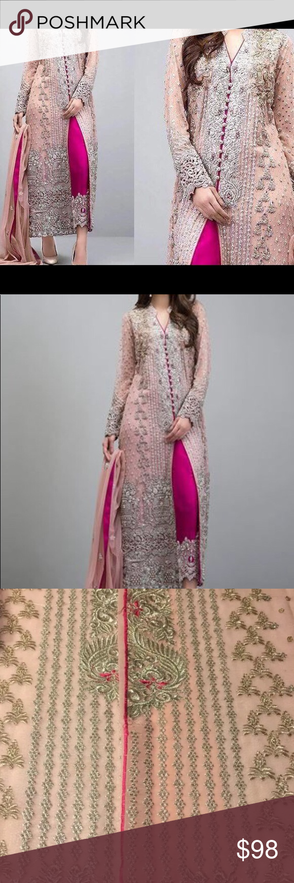 6588bcd767 Pakistani women embroidered Salwar Kameez Unstitched women / ladies  Pakistani Indian women dare are kameez. It is made of chiffon with golden  embroidered on ...