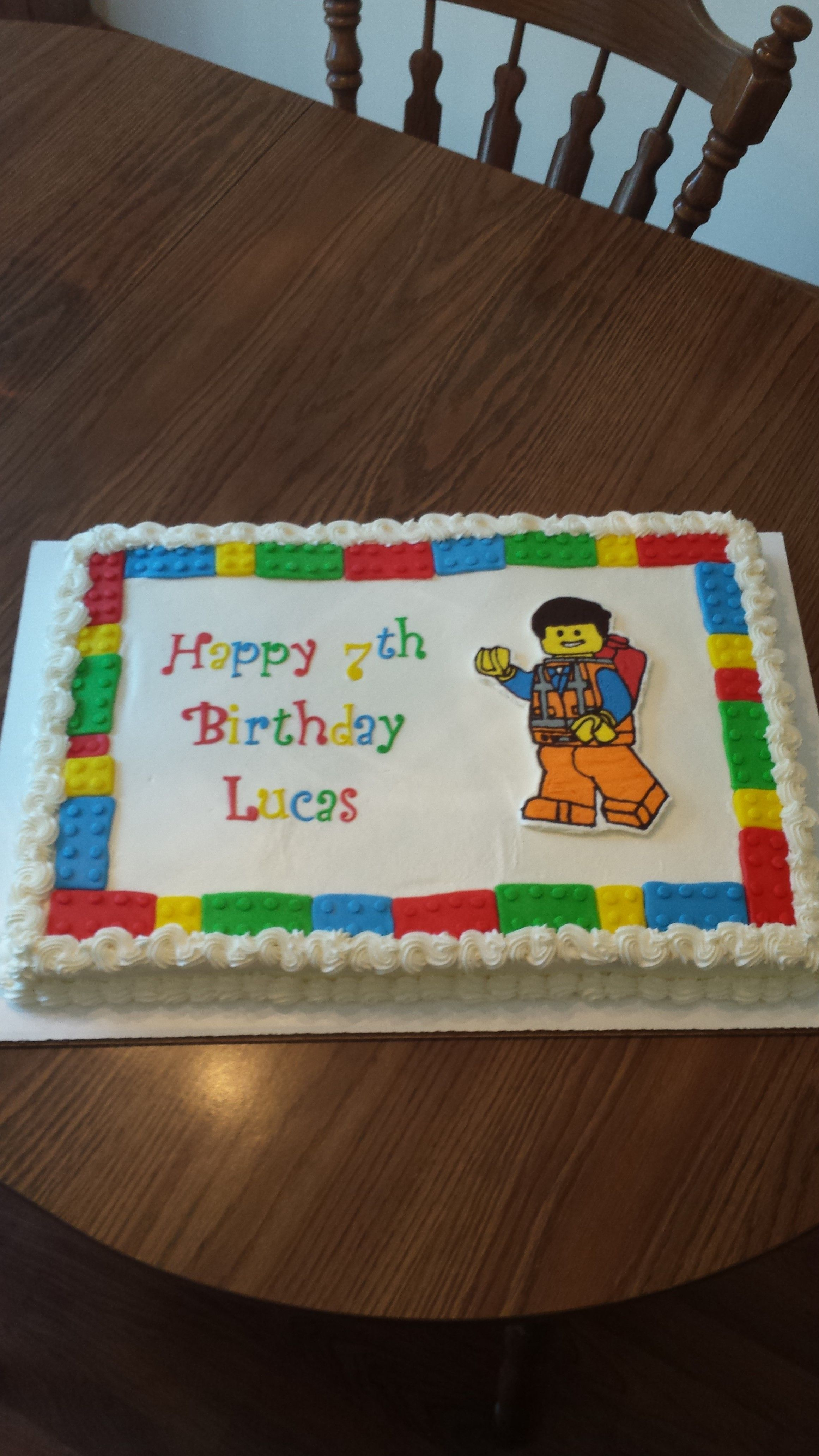 Lego Movie Cake For Lucas S 7th Birthday Buttercream Transfer With