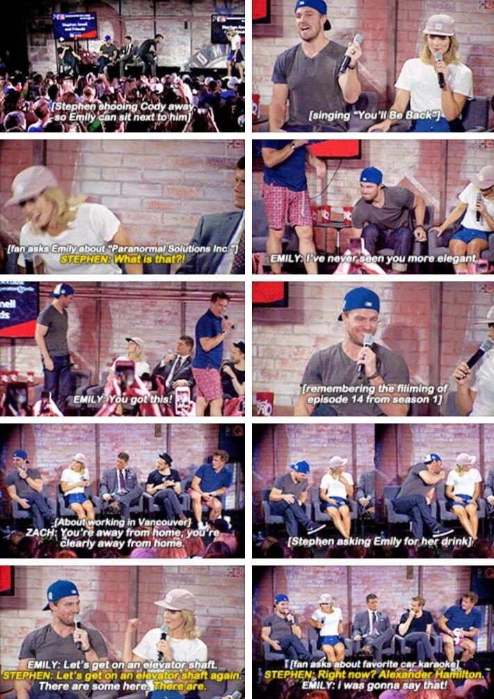 "Best of Stephen & Emily at the #NerdHQ panel ""A Conversation with Stephen Amell and Friends."""
