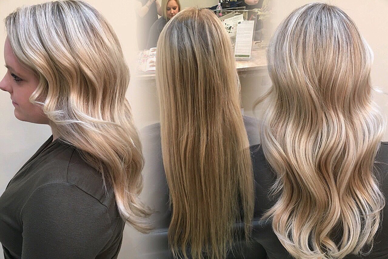 Before And After Blonde Pale Blonde Highlights Lowlights Long Hair