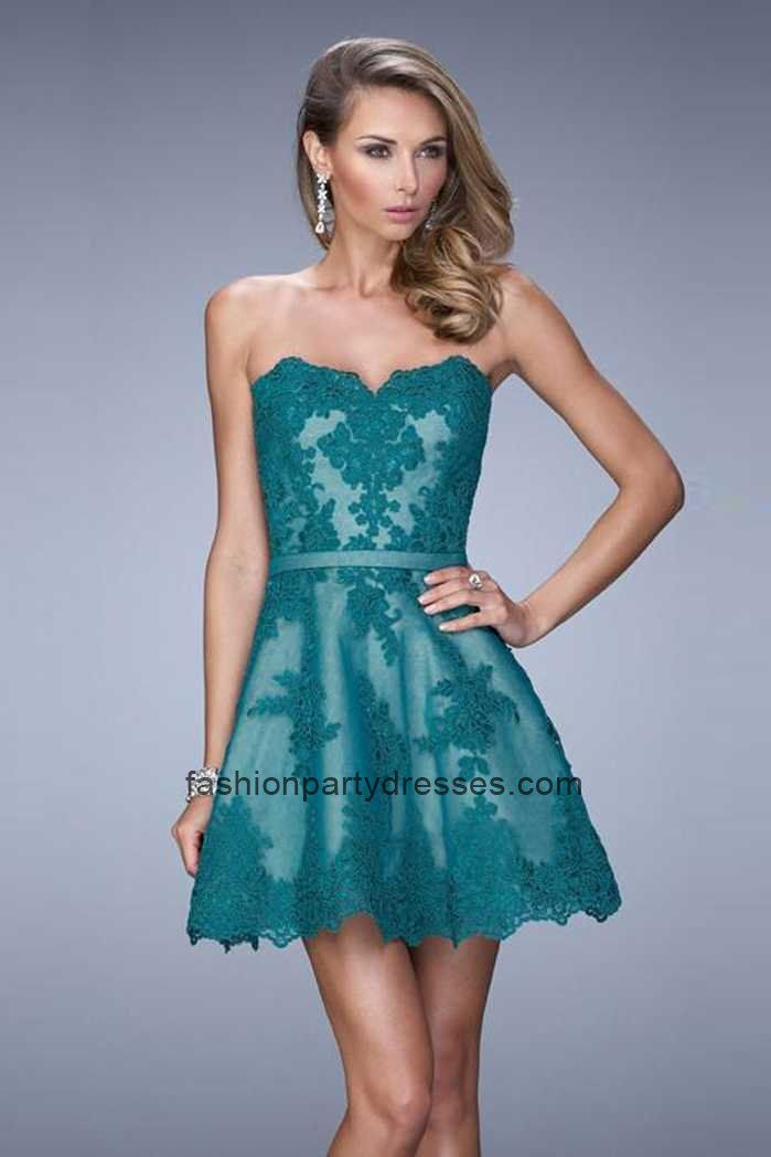 Cheap La Femme 22046 Ever-green Strapless Lace A-line Mini Homecoming Dress  2015