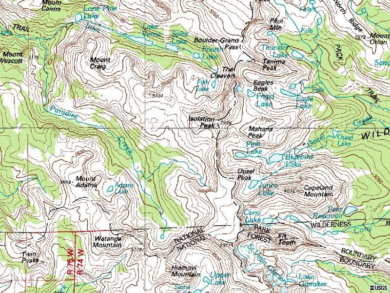 Isolation Peak Colorado topographic map for larger image