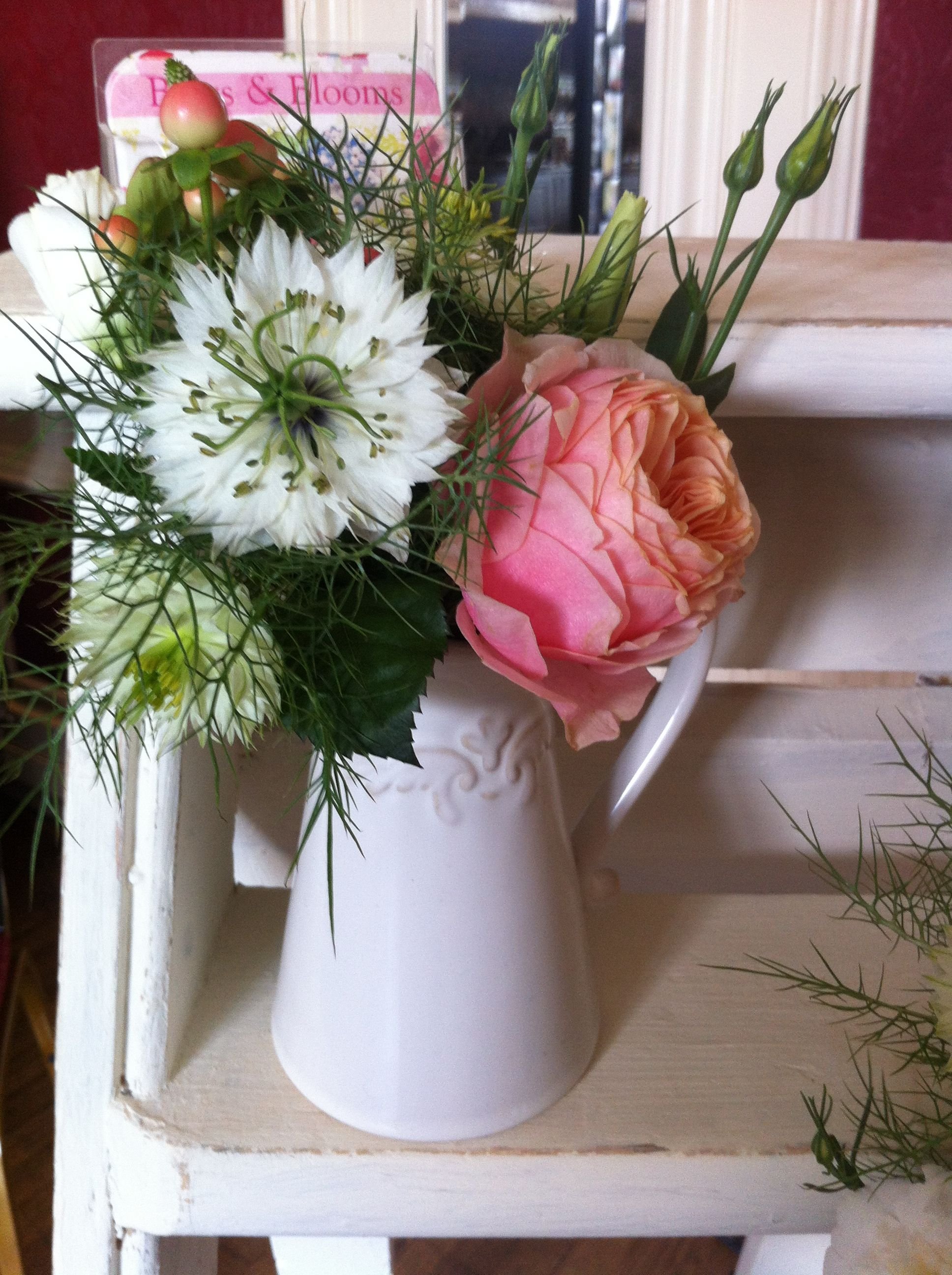 Small White Jug Arrangement Nigella Also Known As Love In A Mist Shown Here