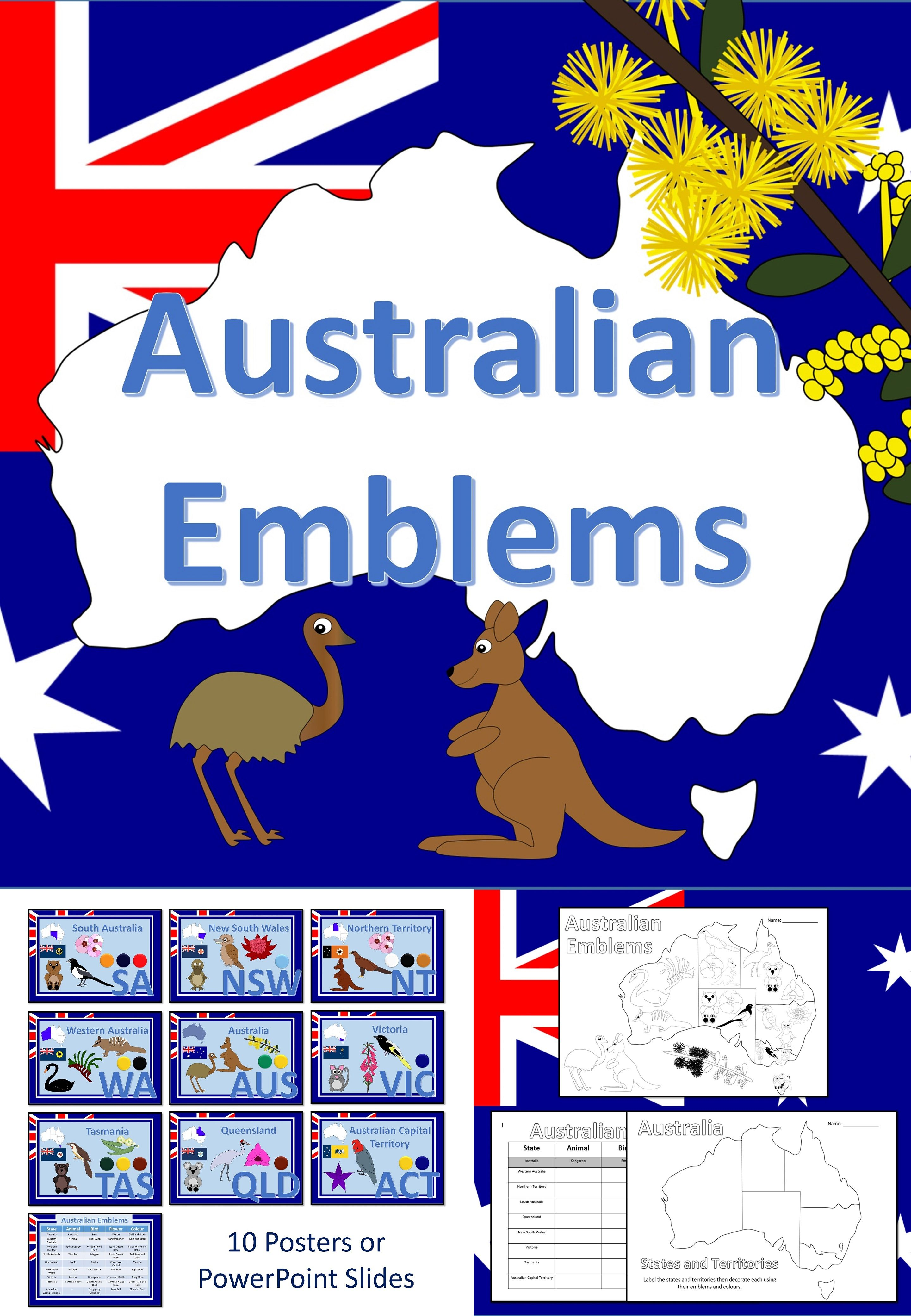 Australian Emblems Posters PowerPoint and Worksheets
