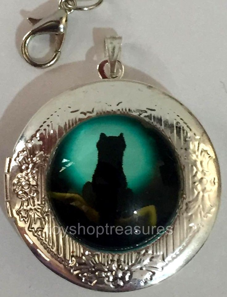 New Vintage Style Black Cat Moon Locket Necklace - Silver  bf
