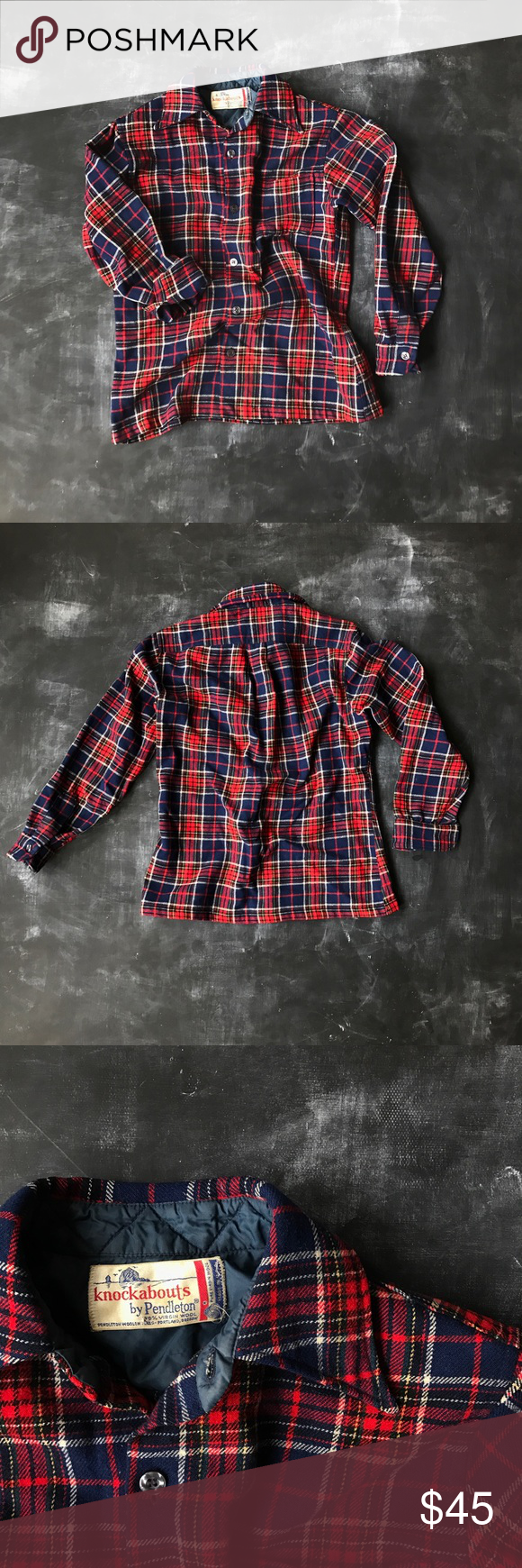 vintage pendleton plaid wool button up no size tag - about a women's size medium or men's size small / pair with your duck boots or hunter boots. perfect winter wool shirt! / no flaws Pendleton Shirts Casual Button Down Shirts