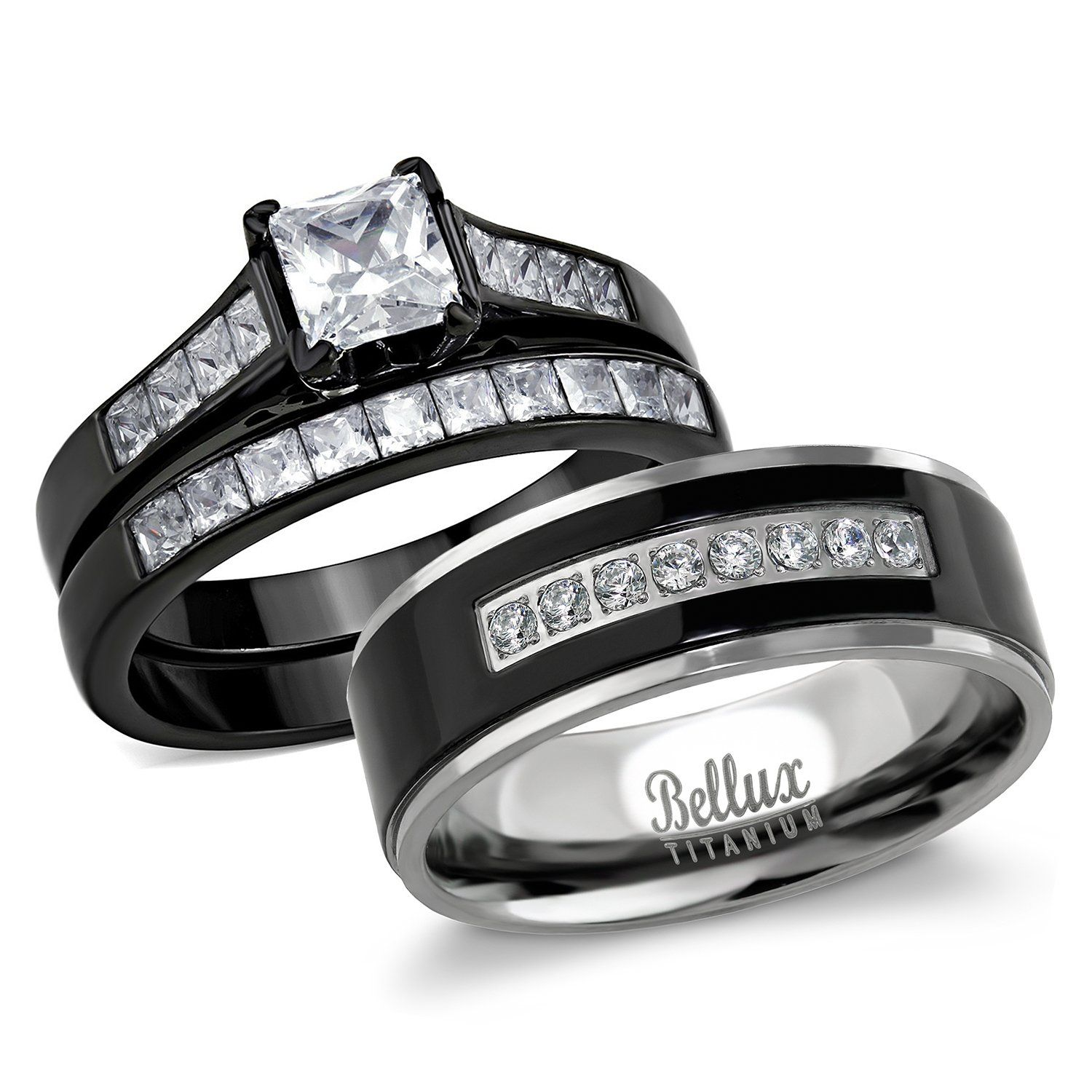 Bellux Style His And Hers Wedding Ring Sets Couples Black Stainless Steel Cz Bridal Sets T Walmart Wedding Rings Wedding Ring Sets Cheap Mens Wedding Bands
