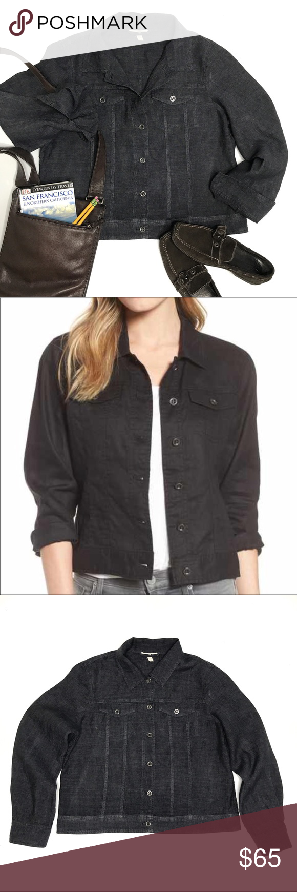 search for authentic latest sale 2019 factory price Eileen Fisher Organic Linen Jean Style Jacket Excellent ...