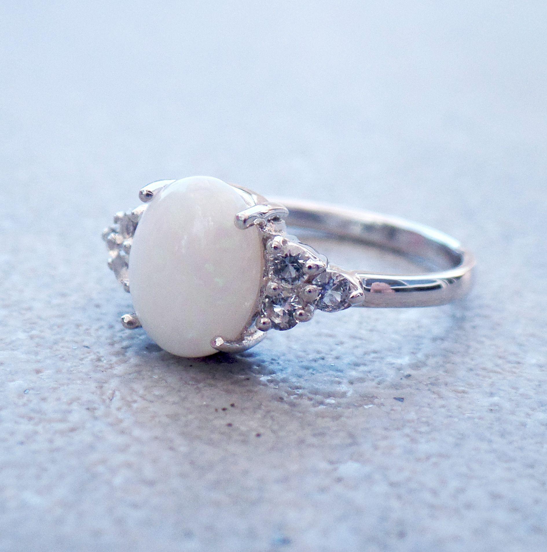 Sterling Silver Genuine Australian Opal And White Topaz Ring
