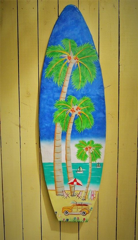 45in hand painted Tropical metal Surfboard. Terrific addition to any ...