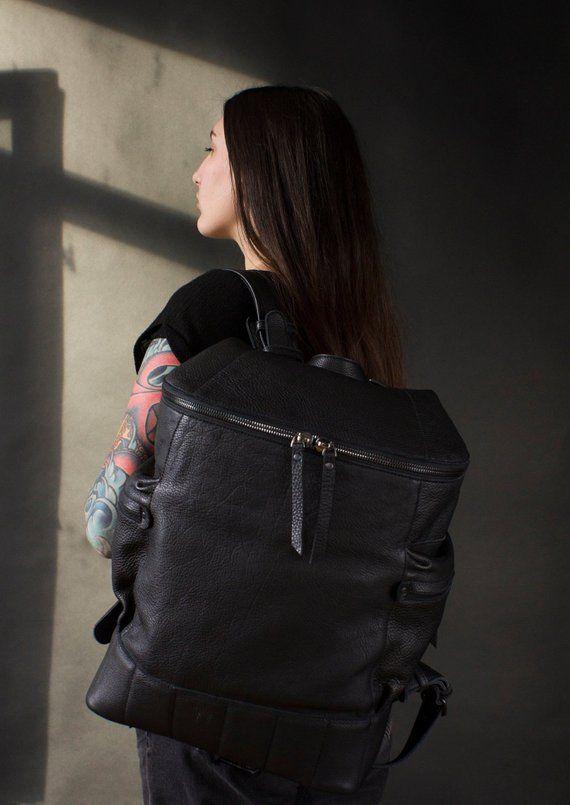 Large black leather backpack men 936629ee3372f