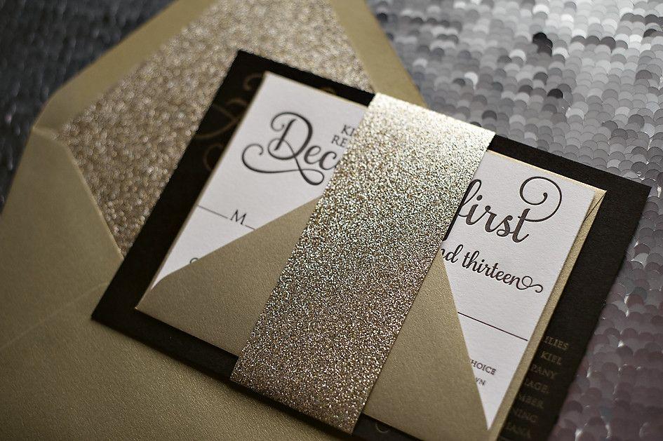 ADELE Suite Glitter Package Glitter wedding invitations, Gold - formal handmade invitation cards