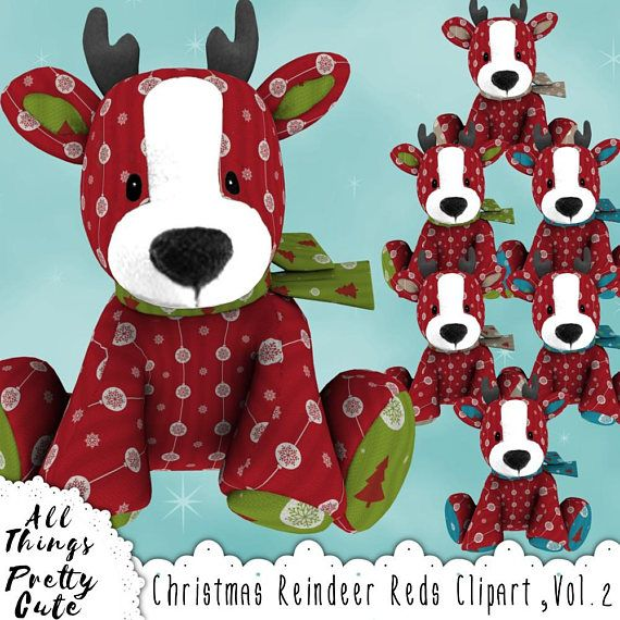 christmas reindeer plushies reds clipart vol 2 commercial use clipart reindeer decor
