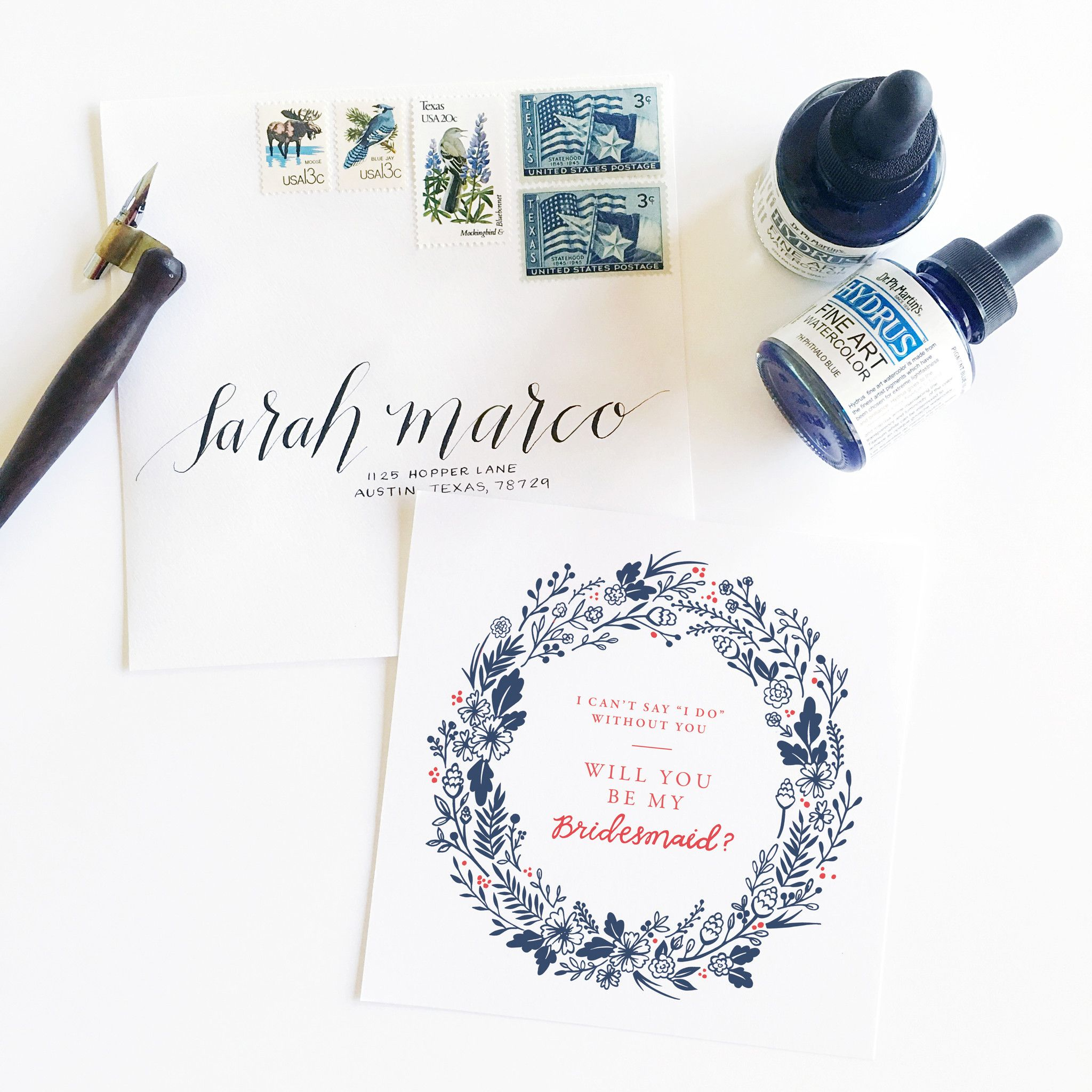 Audrey Collection Will you be my bridesmaid card by Archer & Olive