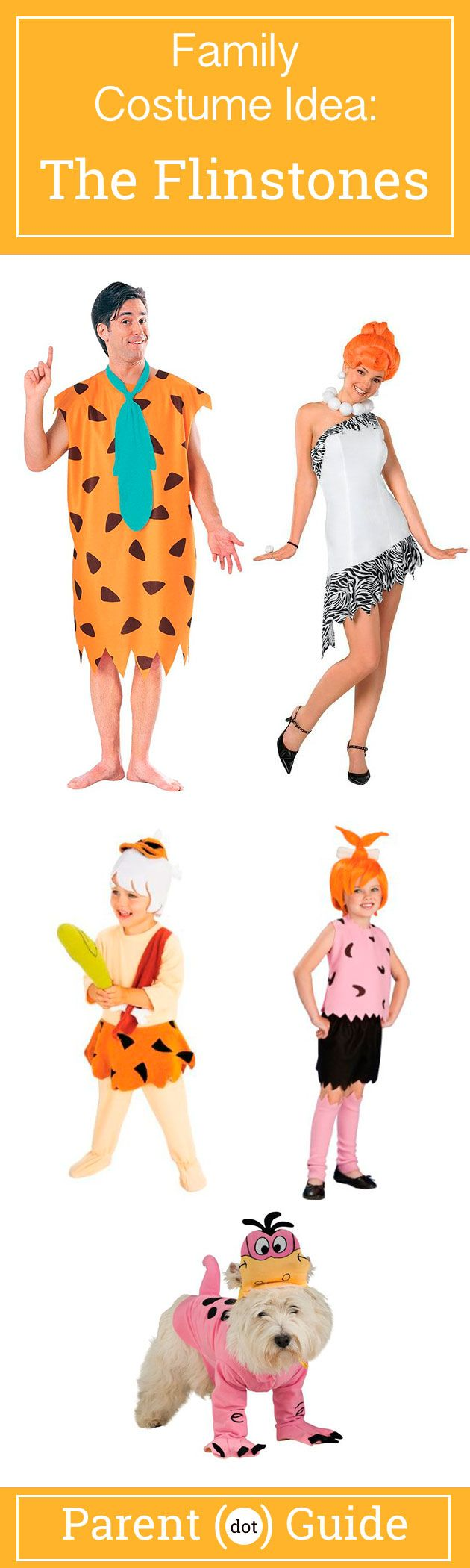 Dress your family up as this prehistoric dysfunctional family. The Flintstones costume features Fred, Wilma, Bam Bam, Pebbles and even a Dino costume for your dog. So get in your foot powered car and hit the town as a family. #pebblesandbambamcostumes