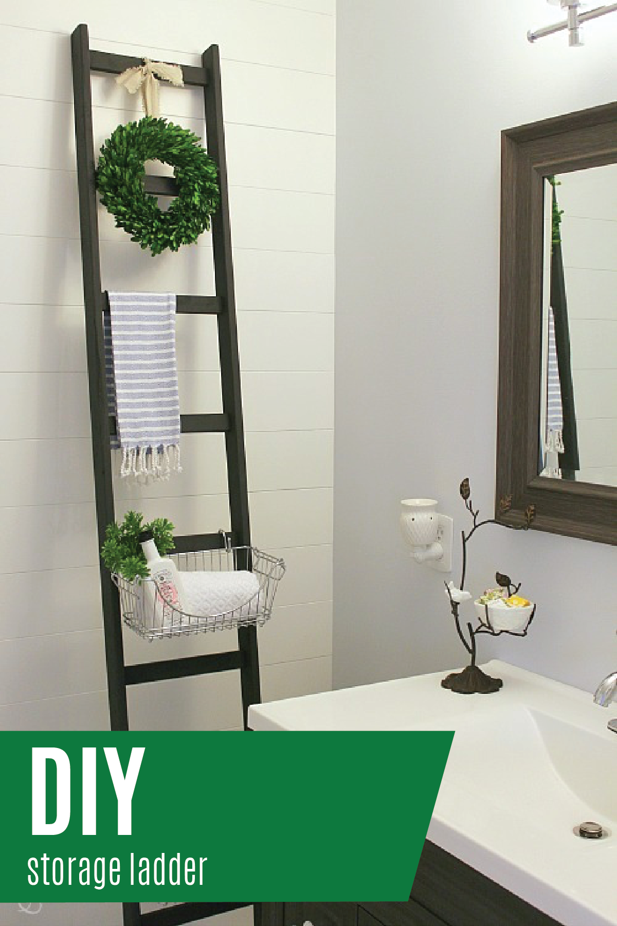 DIY Storage Ladder | DIY storage, Hanging wire basket and Bathroom ...