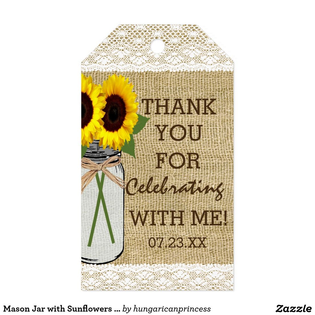 Mason Jar With Sunflowers Bridal Shower Gift Tags Sunflower Themed