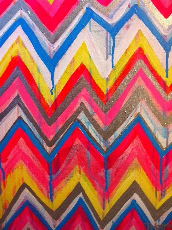Exceptional Custom Ikat Chevron 16x20 Painting By Jennifer Moreman Via Etsy.