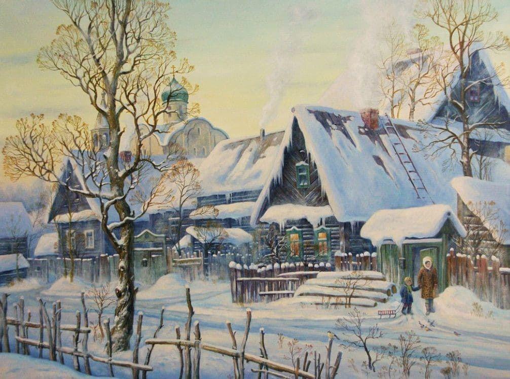 Зимняя деревня картинки нарисованные, днем рождения