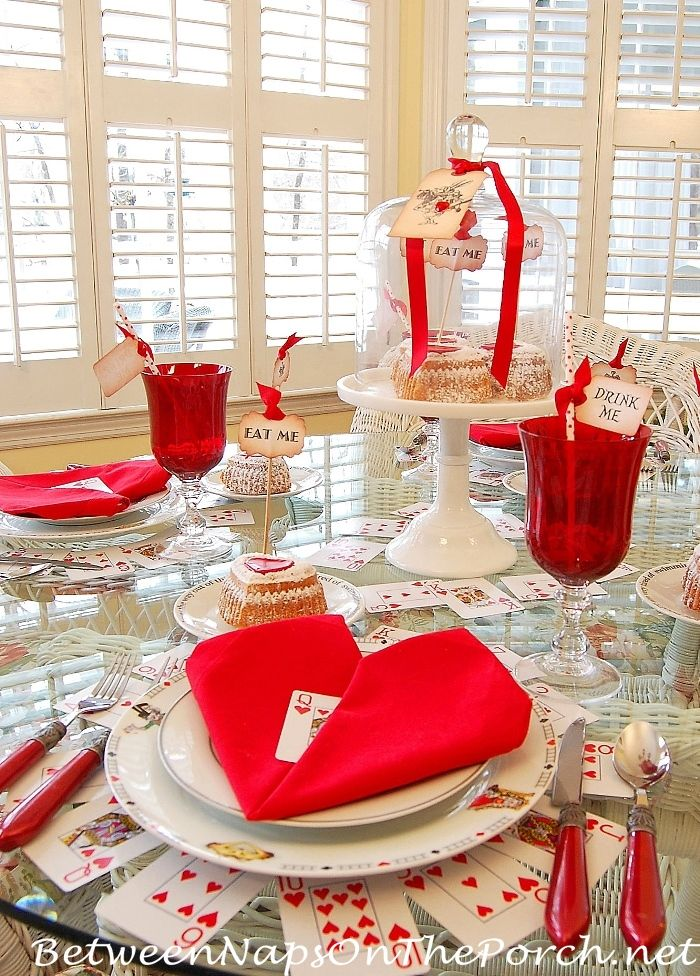 Valentine's Day Table, Alice in Wonderland Theme only the  the heart cards were used around the plates. $ Tree