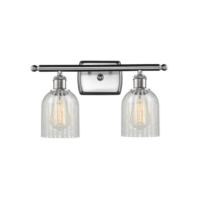 Photo of Innovations Lighting 516-2W Caledonia Caledonia 2 Light 16″ Wide Vanity Light Brushed Satin Nickel / Mouchette Indoor Lighting Bathroom Fixtures