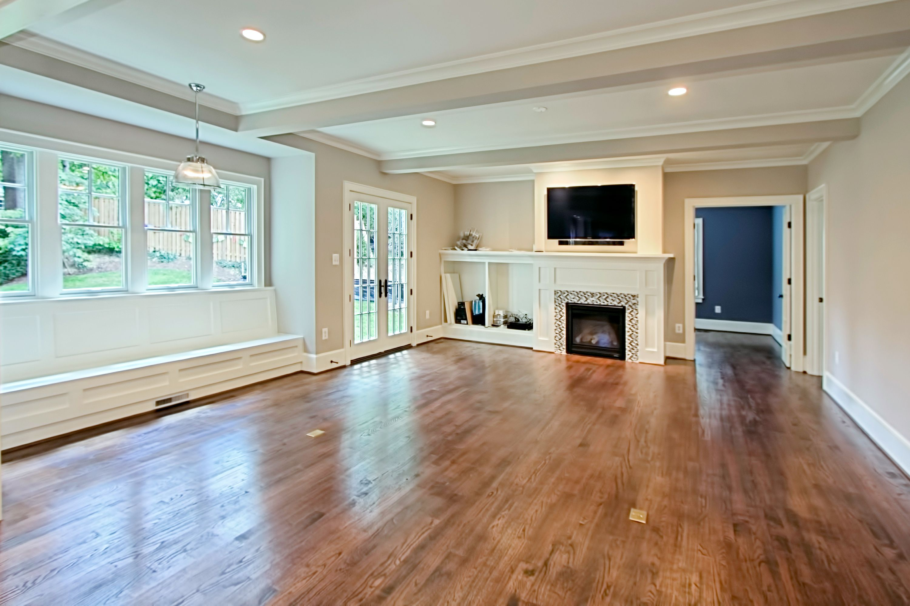 Family room with built-in fireplace