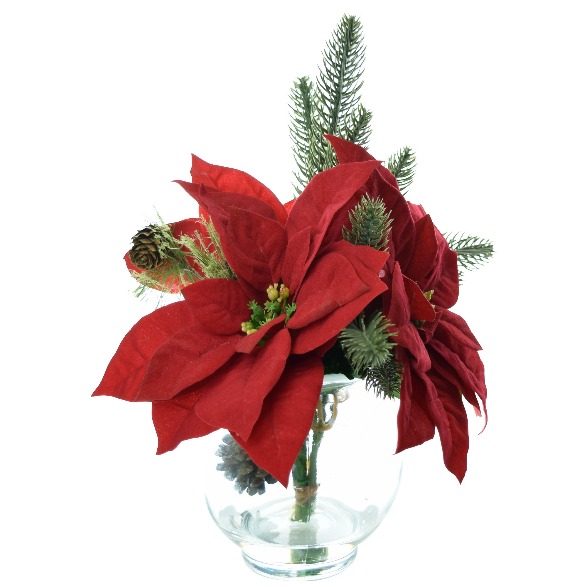 Artificial poinsettia arrangement with glass bowl vase red 9 lcg artificial poinsettia arrangement with glass bowl vase red 9 lcg florals floridaeventfo Images