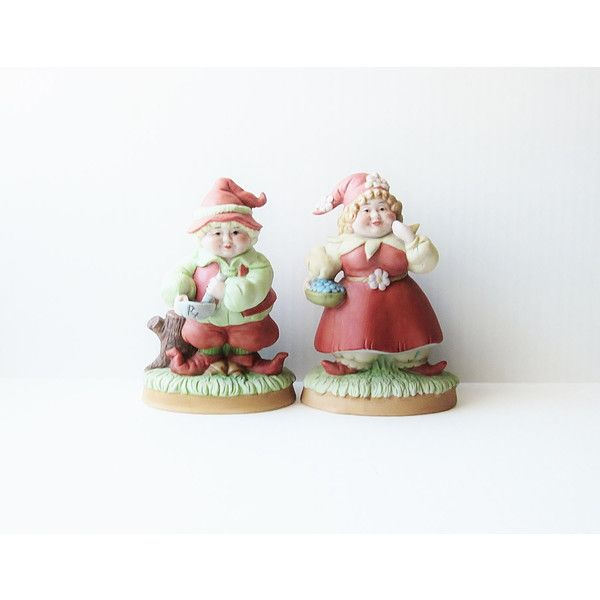 1984 Enesco Garden Gnome Collectible Figurines Vintage Elfin Woodland... (€14) ❤ liked on Polyvore featuring home, home decor, vintage elf figurines, vintage home accessories, vintage ceramic figurines, elf figurine and ceramic home decor