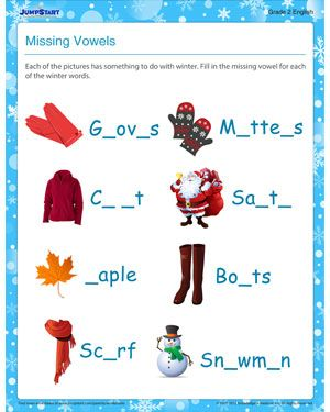english missing vowel free winter worksheet for kids homeschool. Black Bedroom Furniture Sets. Home Design Ideas