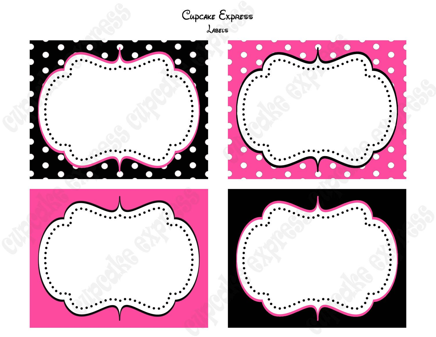 Diy Minnie Mouse Birthday Party Printable Food Labels Pink Black