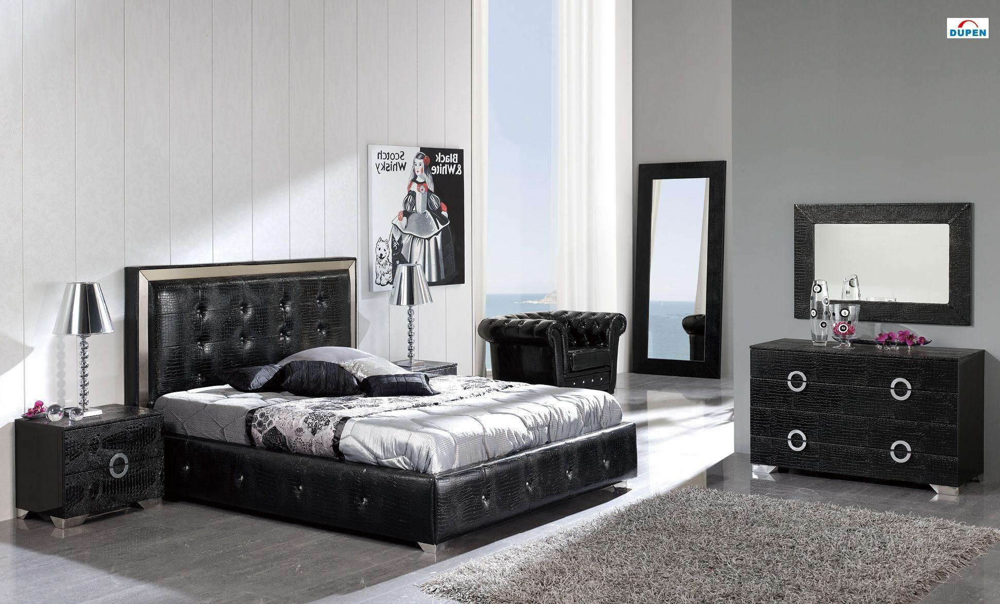 Coco Bedroom Set In Black By Dupen Made In Spain Modern Bedroom Furniture Sets Platform Bedroom Sets Modern Bedroom Furniture
