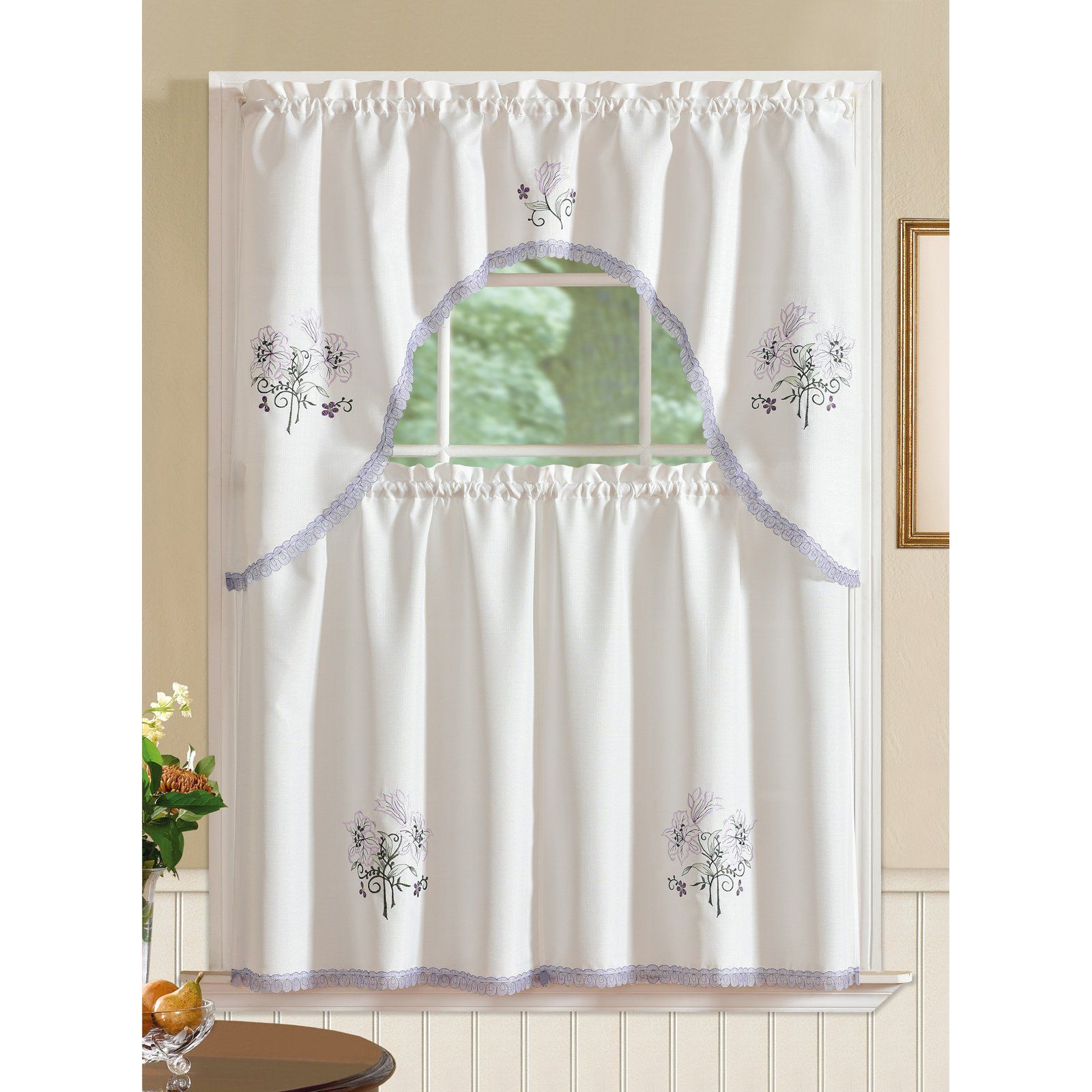 Rt Designers Collection Regal Embroidered Lily Kitchen Curtain
