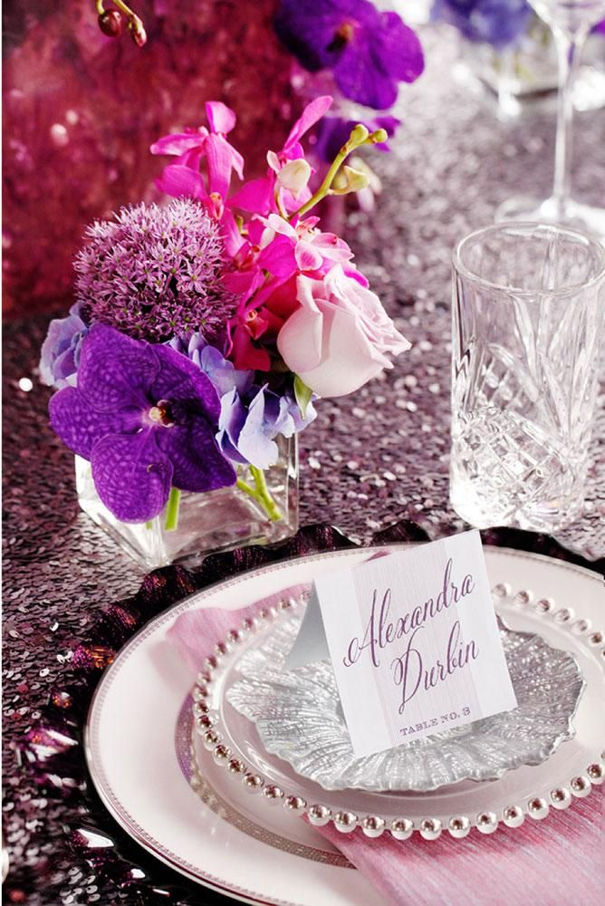 Lovely place setting by Out of the Garden with china from Posh Couture Rentals and place card by Imaj Design. Photo by John Christopher Photographs. #wedding #placesetting #purple #plum