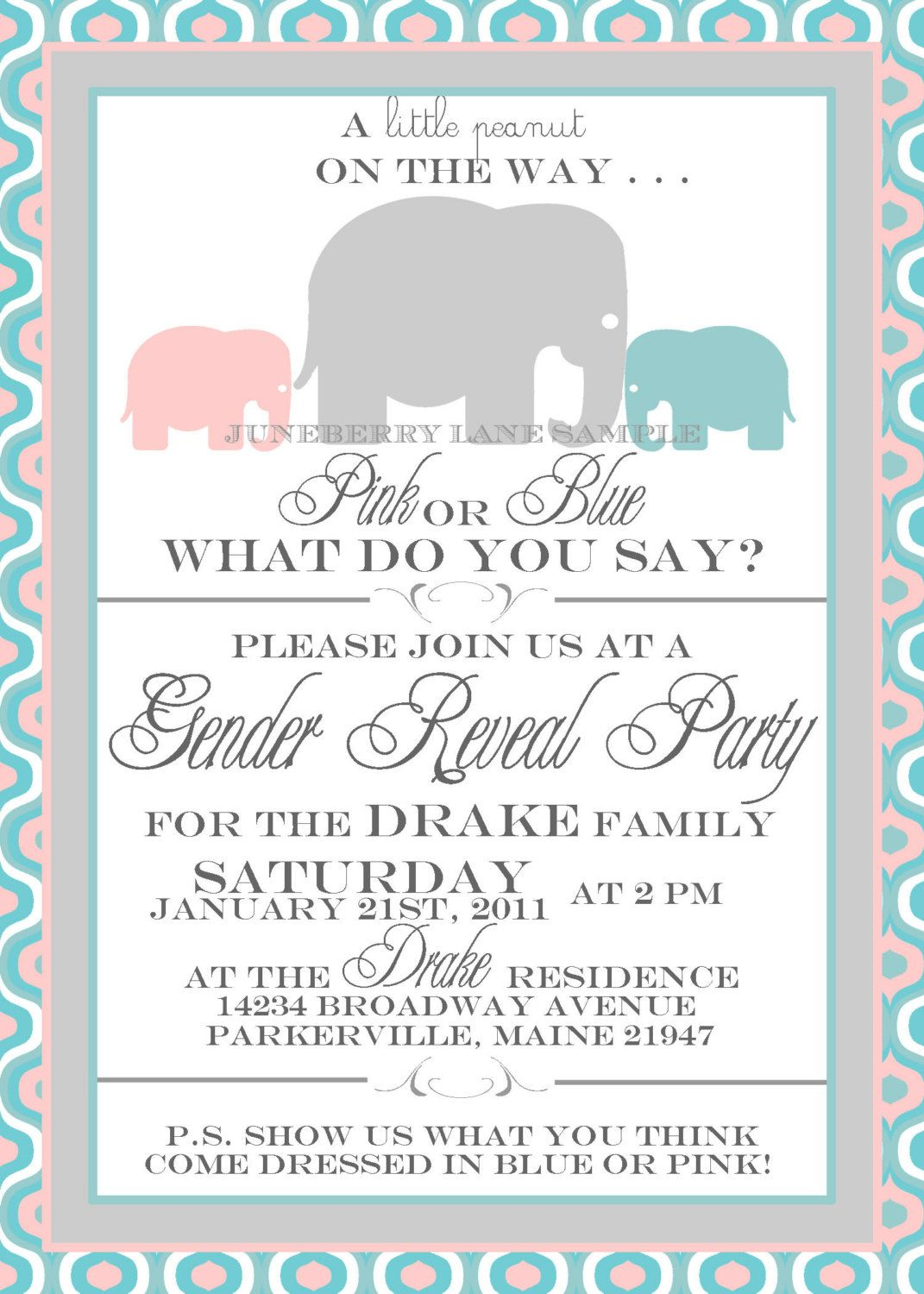Baby elephant gender reveal invitation gender reveal invitation baby elephant gender reveal invitation gender reveal invitation boy or girl he or she party blue and pink printable diy baby fever pinterest filmwisefo