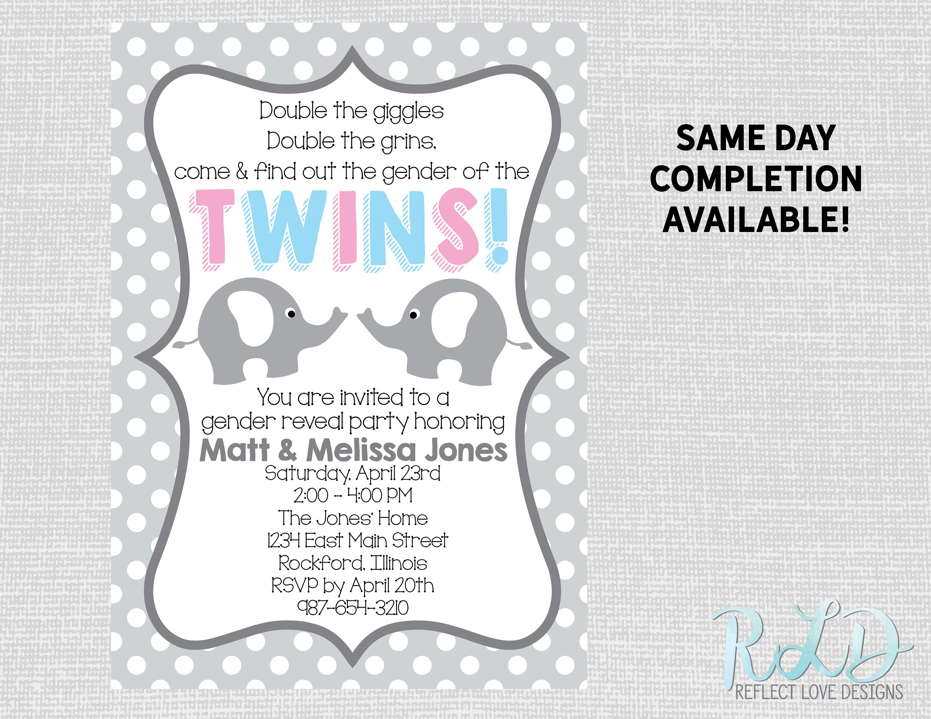 Twin Gender Reveal Party Invitation Gray Polka Dots and Elephants