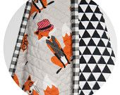 Modern Quilt, Baby Blanket, Orange Grey and Black, Gigham and triangle Mr. Fox Whole Cloth Quilt
