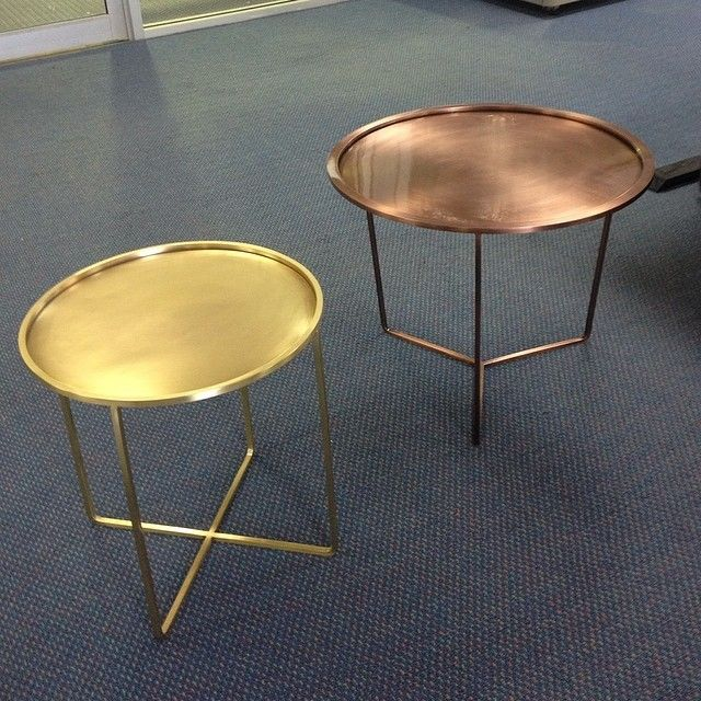 Electroplated plated coffee tables 3 Leg antique copper satin and 4