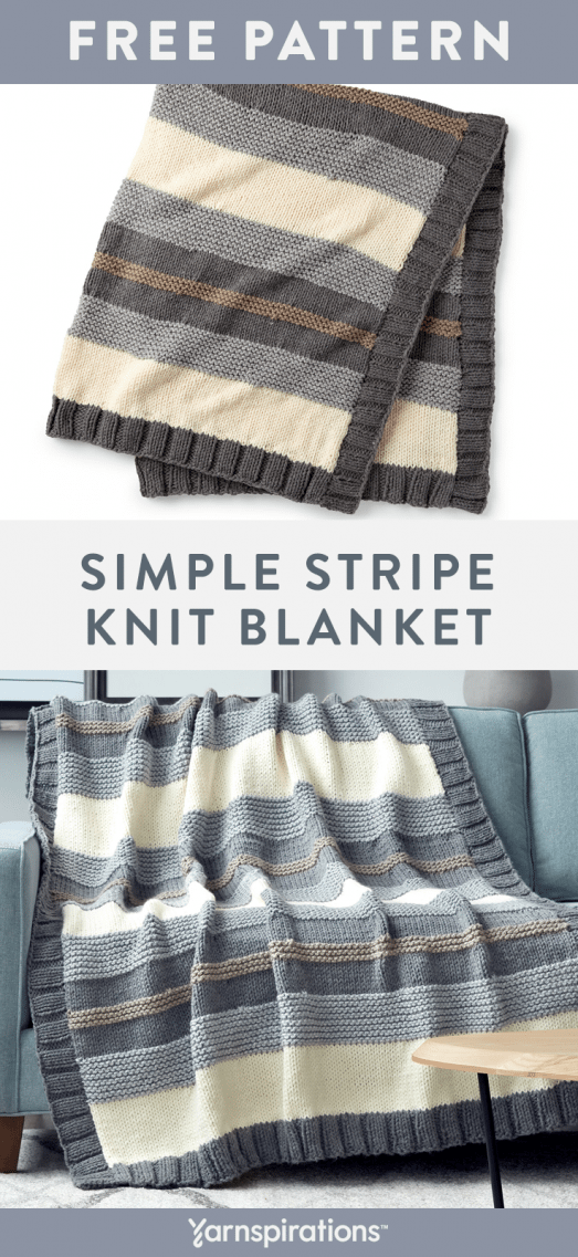 Free Knitting Pattern made with Bernat Softee Chunky yarn! This free Simple Stripe Knit Blanket Pattern is perfect for seasoned knitters or those new to the craft this is a fun and easy project that has you working basic stitches and a fun to work border that is picked up along the side edges for a tidy finish. #yarnspirations #freeknittingpattern #bernatsoftychunky #knittedblanket #bernat #knittingpattern #knitting #pattern #pillow