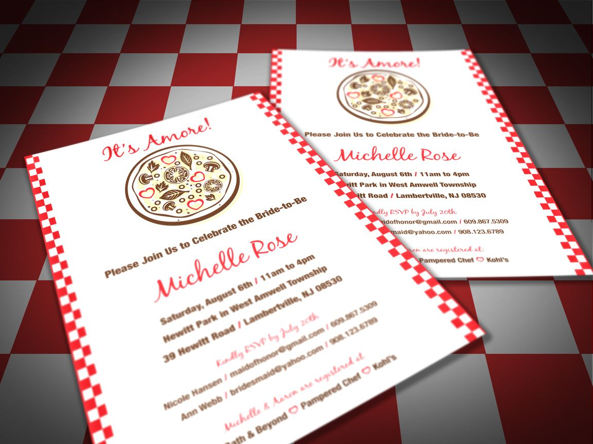 Pizza Party Bridal Shower Invitation Red And White Checkers It S