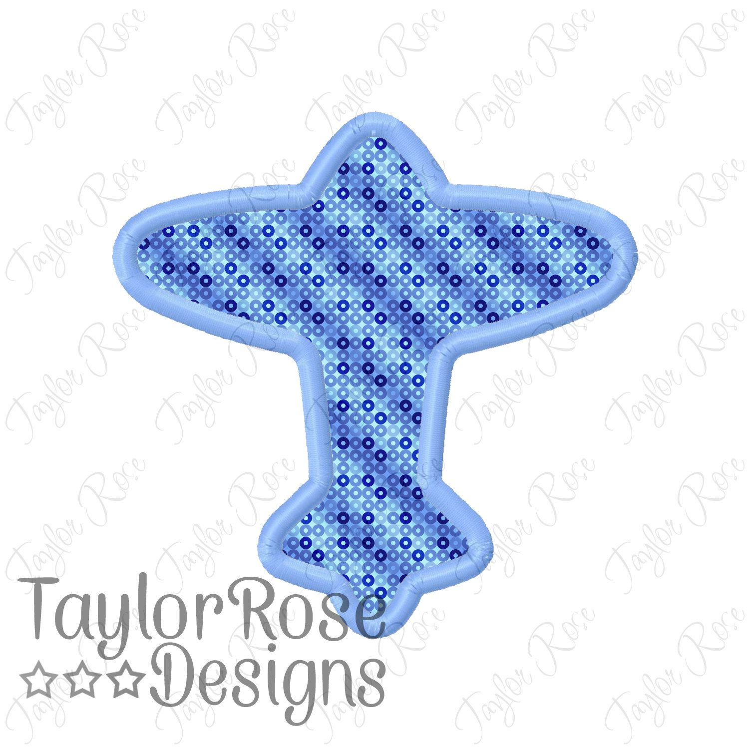 Airplane Silhouette Outline Applique Machine Embroidery Design 4x4