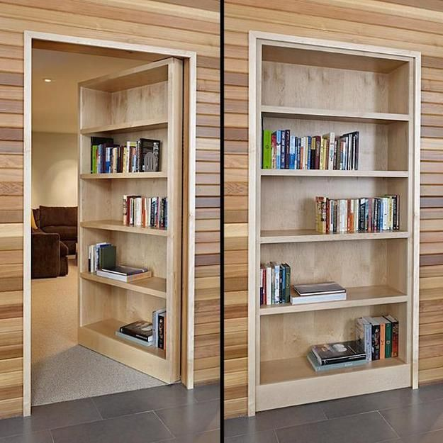 Space Saving Built In Office Furniture In Corners: Space Saving Interior Doors With Shelves Offering