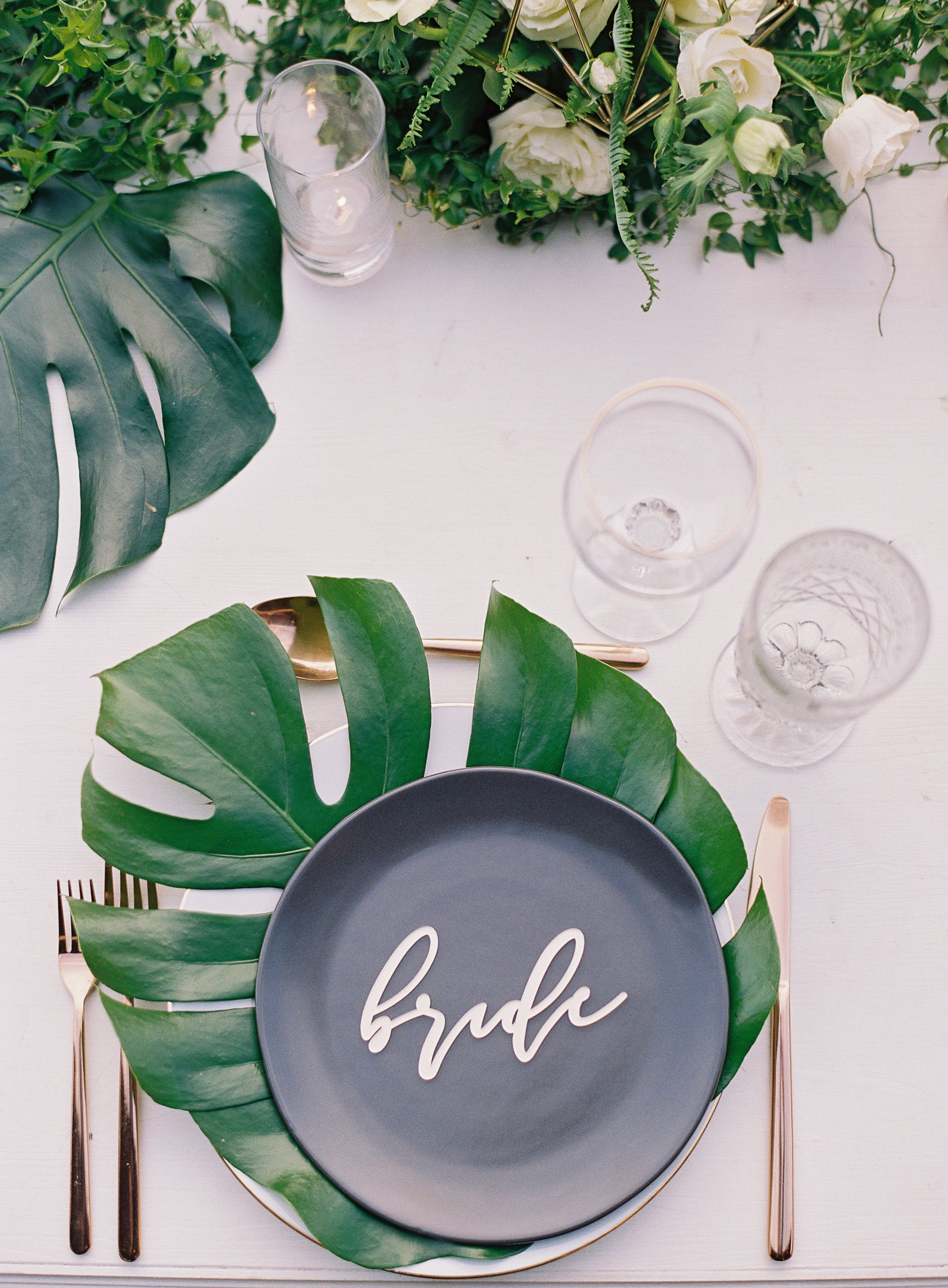 Modern Tropical Maui Wedding Cocoa Dinnerware Gold Flatware