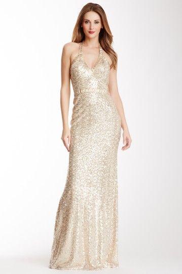 Sequin Halter Gown by La Femme on @HauteLook