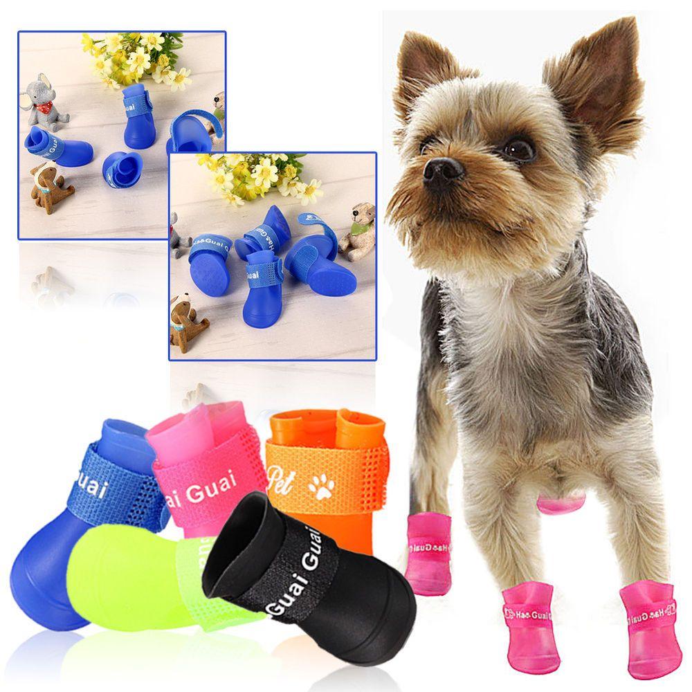 4PCS Dog Puppy Pet Chihuahua Shoes Boot Rain Boots Waterproof Anti-Slip Size S #UnbrandedGeneric