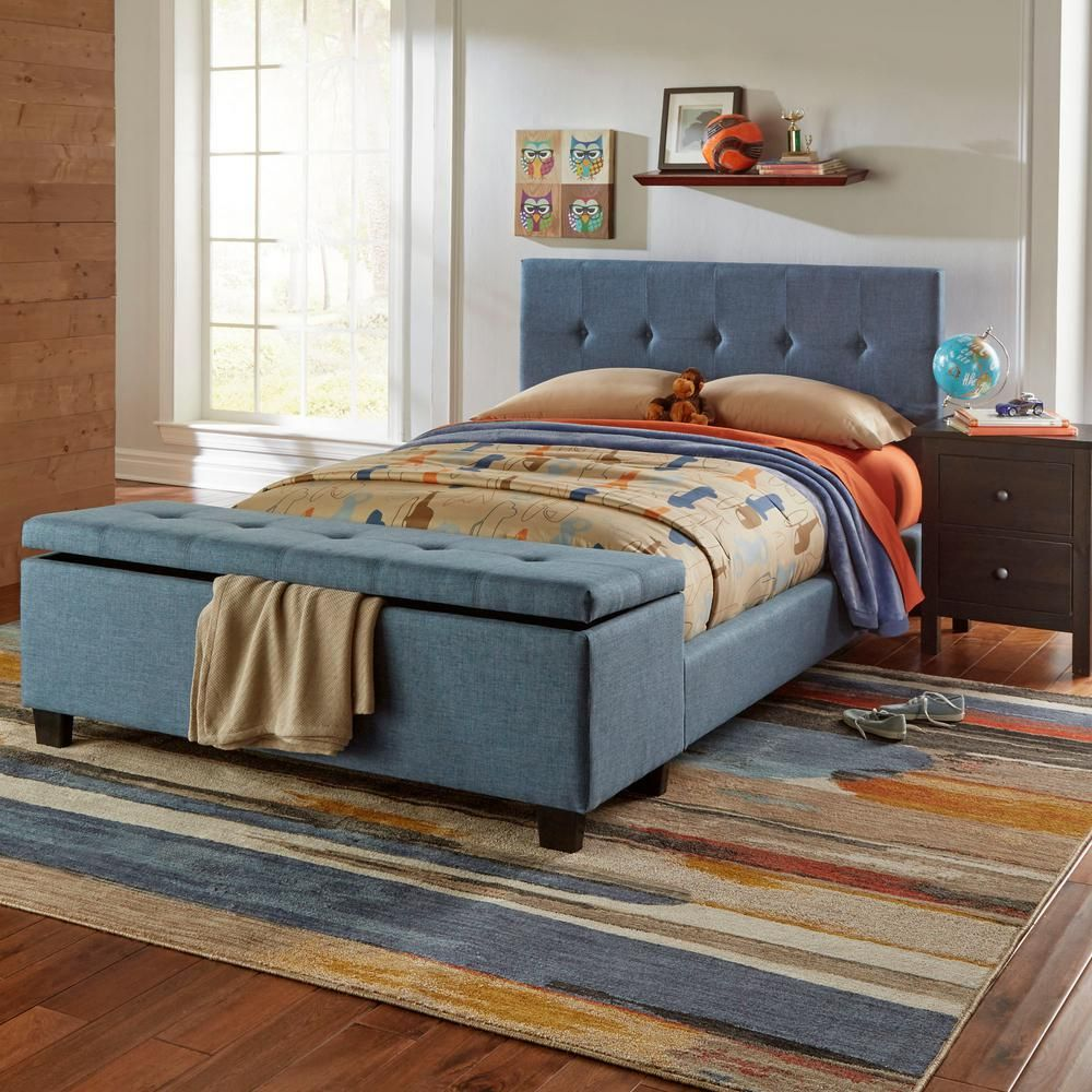 henley denim blue full headboard and footboard with metal duo panels
