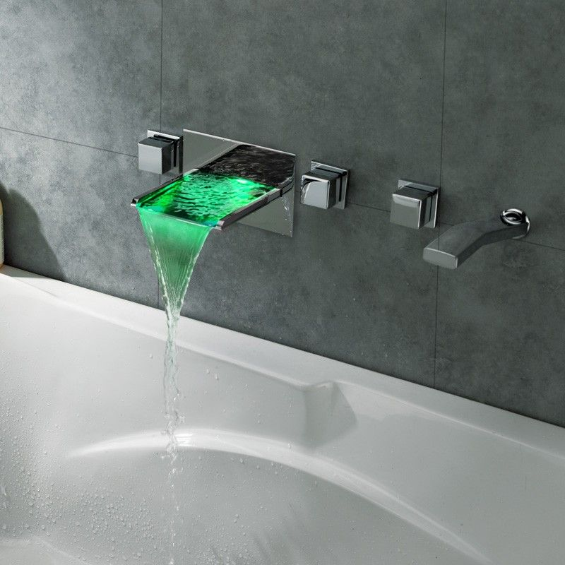 Koko Led Waterfall Wall Mount Bathtub Filler Faucet