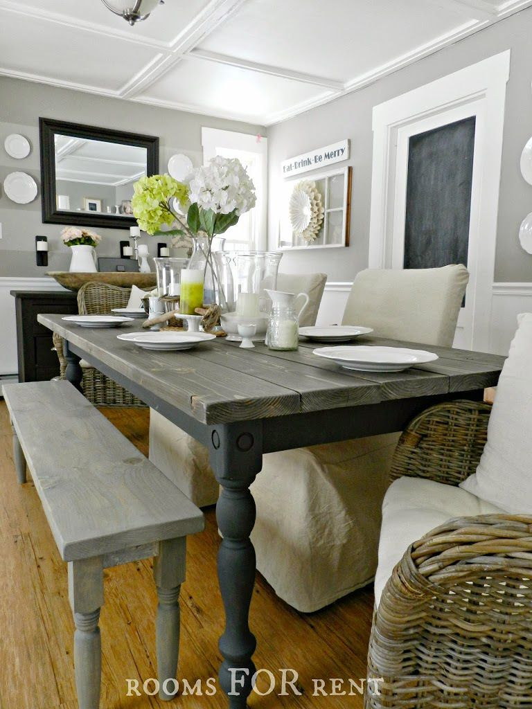 GREY Our New Farmhouse Dining Table pinned so I remember she