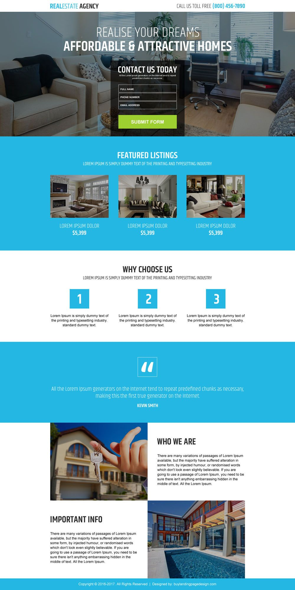 real estate agency business service landing page design