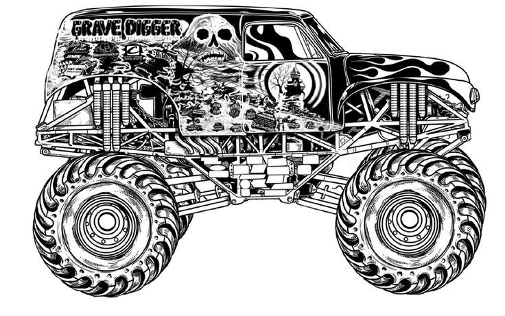 grave digger coloring pages 01 - Grave Digger Truck Coloring Pages
